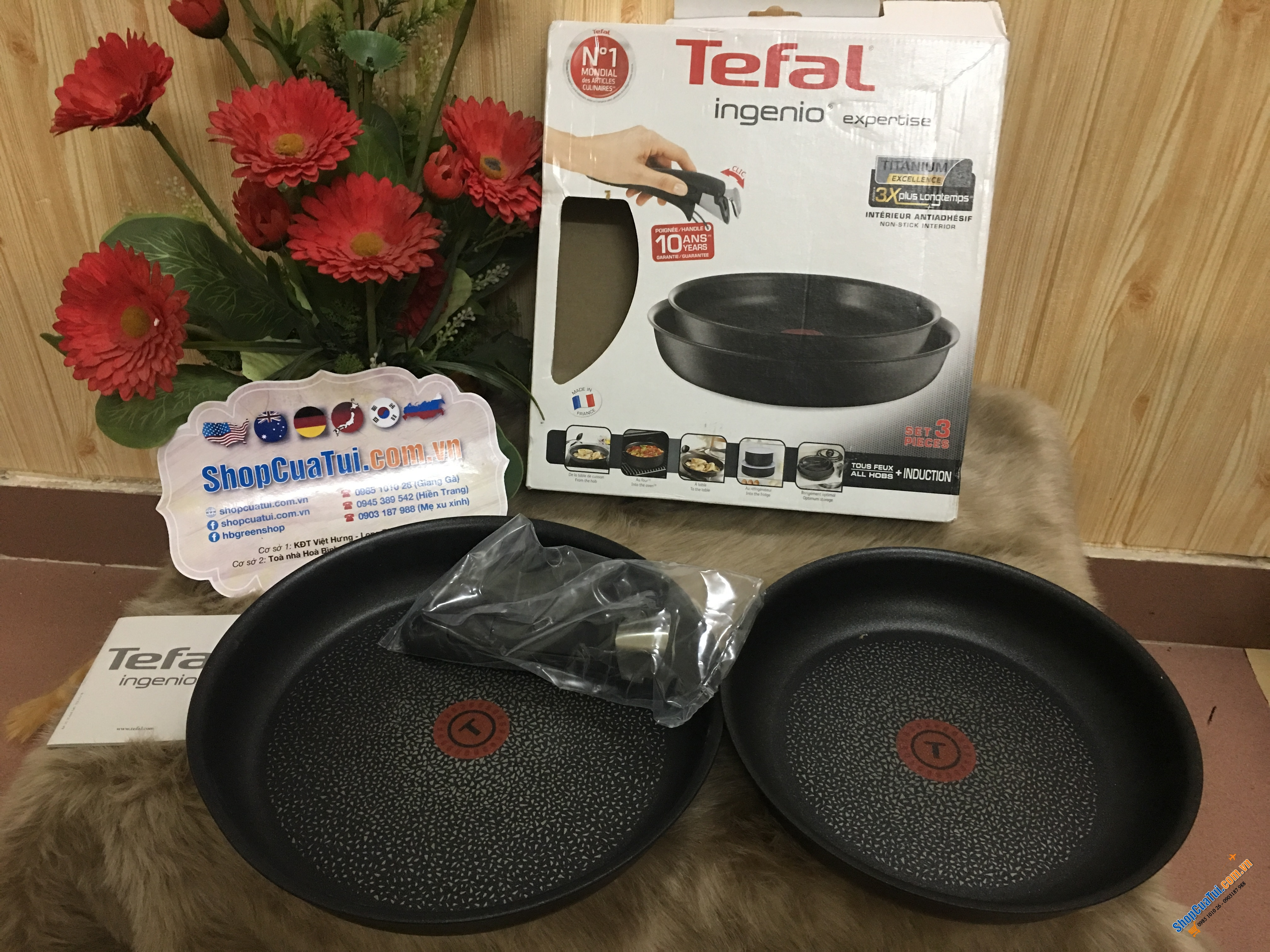 Set chảo Tefal tay rời 24-28cm - Made in France