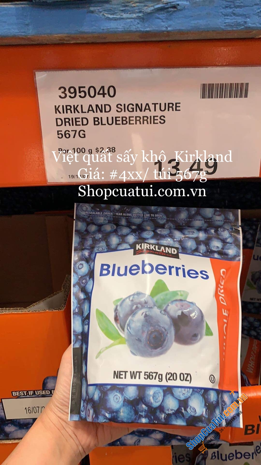 Quả việt quất sấy khô Kirkland Signature Whole Dried Blueberries 567g