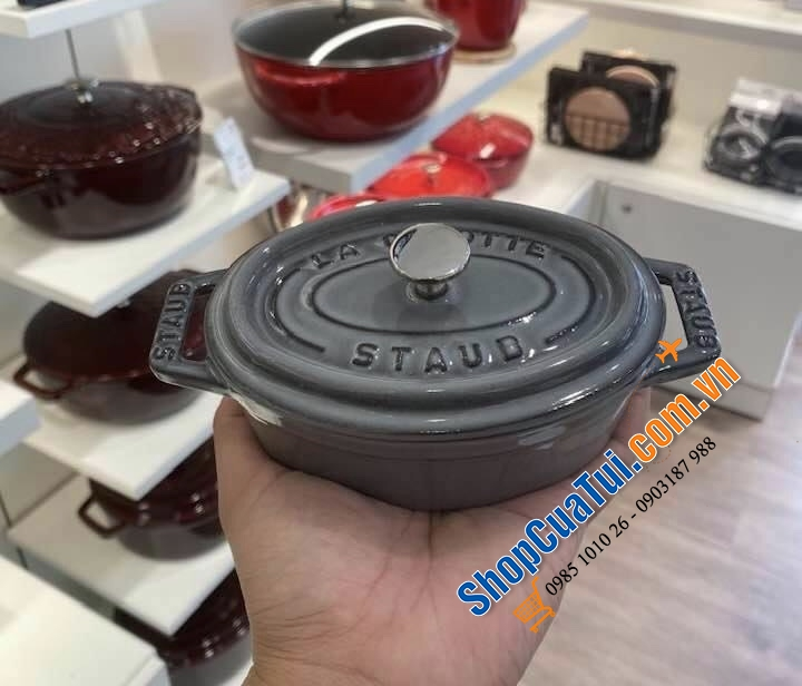 NỒI STAUB OVAL 11 cm mini màu XÁM  - MADE IN FRANCE
