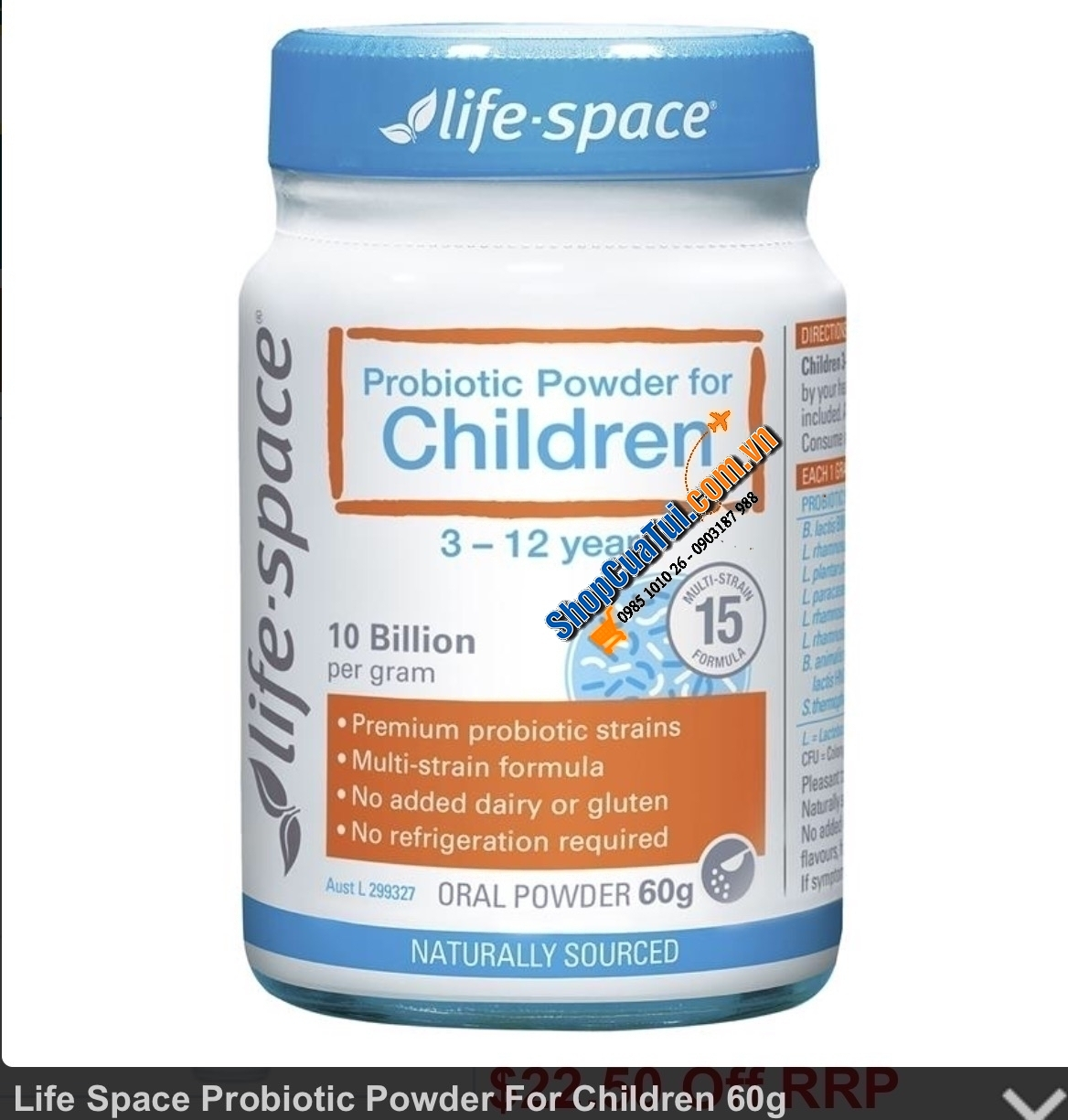 Men vi sinh Úc cho trẻ em - Life Space Probiotic Powder For Children 60g